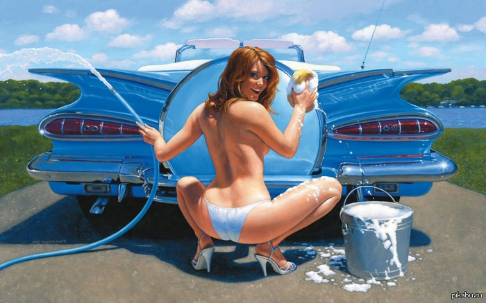 hot girl washing car № 198174