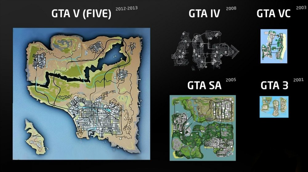 сравнение всех карт Gta