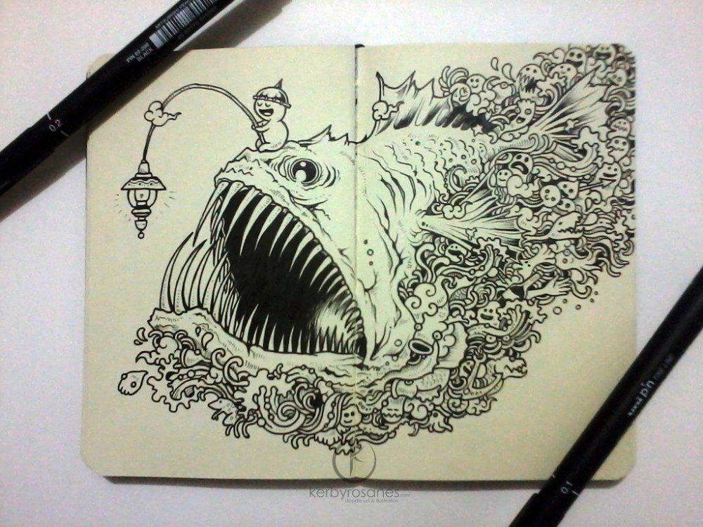 Удильщик нарисованный