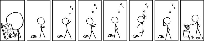 Жонглирование Позже: «А почему книга парит над корзиной?»