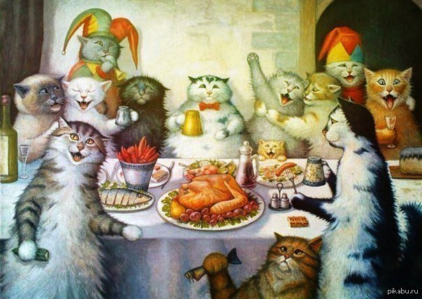 Коты пьют водку