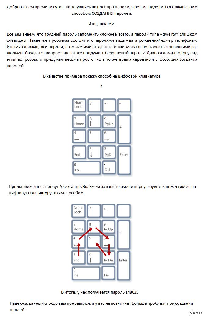 Как легко создавать сложные пароли Я предоставляю основу, комбинировать таким способом можно и на буквенной клавиатуре.