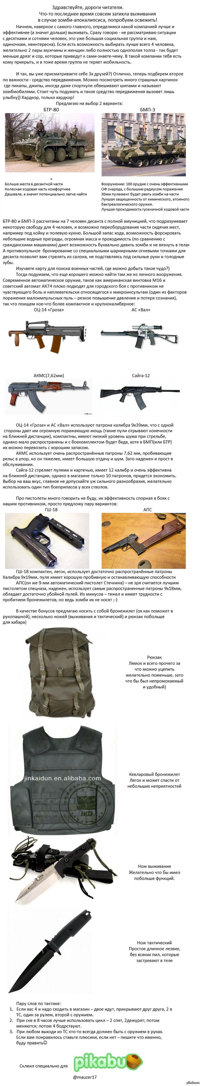 Снаряжение для зомбоапокалипсиса Что бы я выбрал в первую очередь)