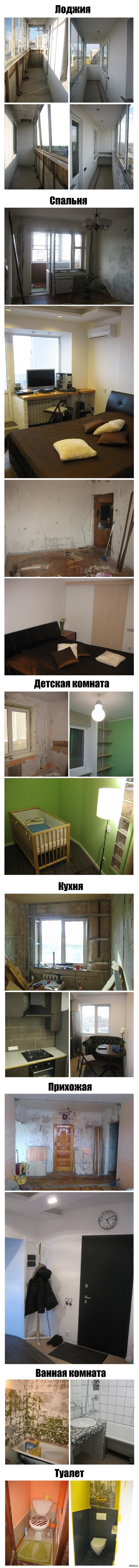 """Сделал ремонт в квартире... ...все сам, как говорится """"без родителей и кредитов"""", сделал за 2 года, потратили около 650.000 руб. На фото: до и после."""