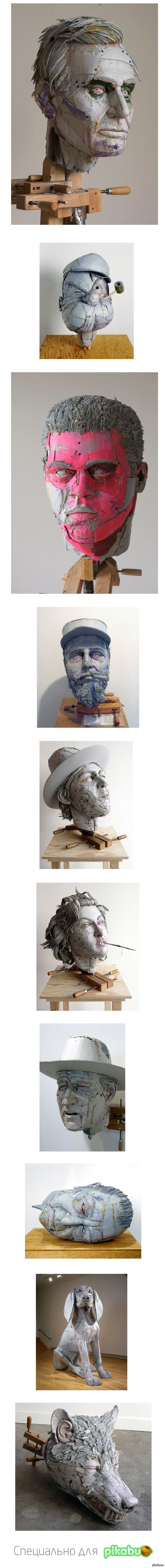 Креативные скульптуры из картона (длиннопост) Американский художник делает скульптуры из картона, так как этот материал очень прост в использовании и из него могут получаться оригинальные вещи.