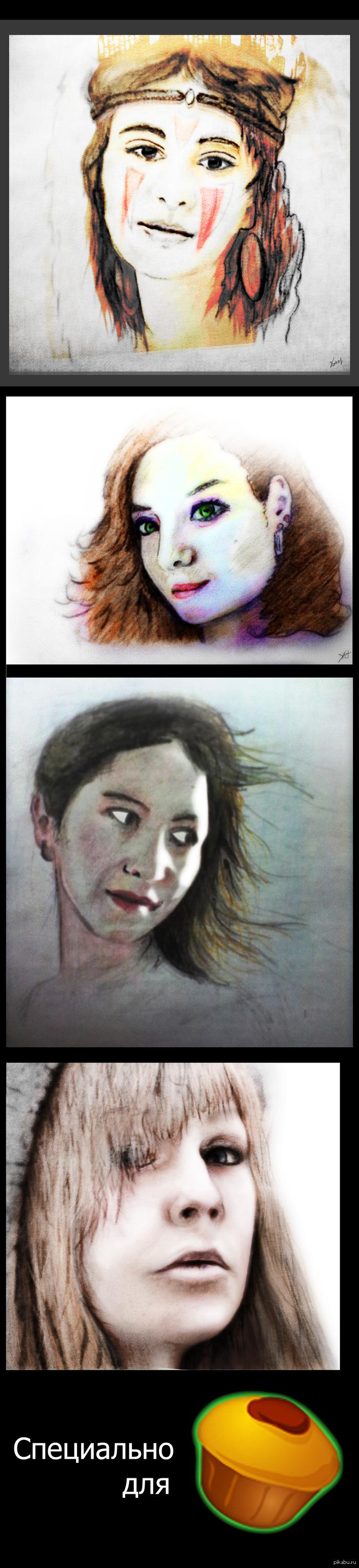 Портретики Не так давно начал рисовать. В художки не ходил, грамоты не знаю. Как вам? Стоит продолжать или не стоит?