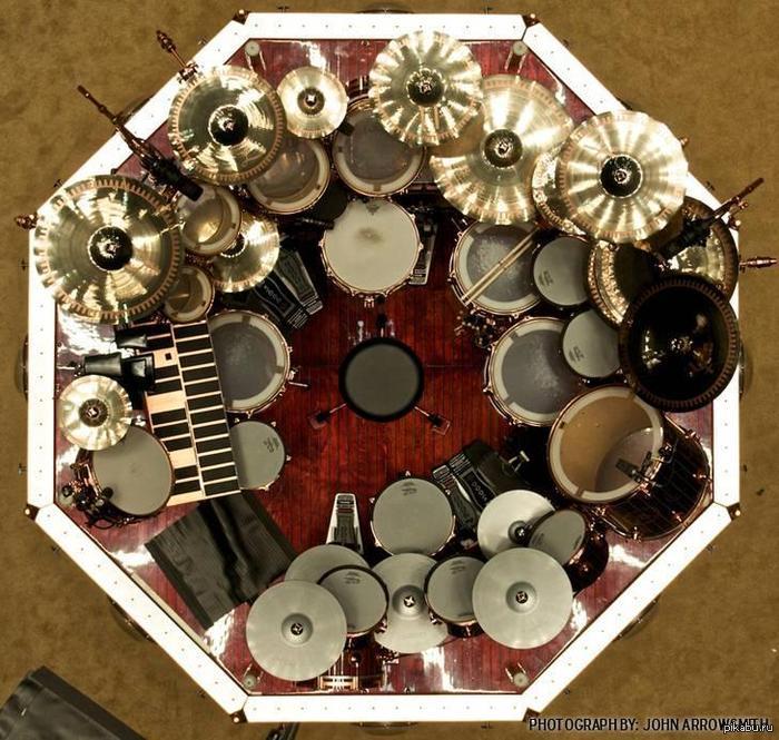Взгляд с высоты птичьего полёта на набор барабанов Нейла Пирта
