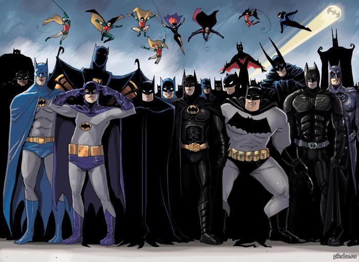 Batman through the years. Art. Бэтмен на протяжении многих лет. Кликабельно.
