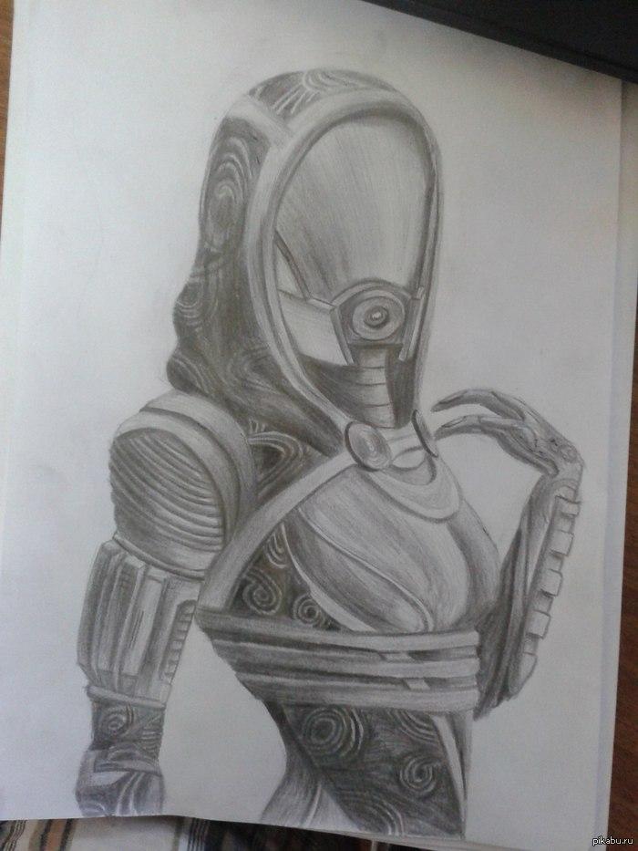 Еще одна частичка Mass Effect на пикабу)) Тали'Зора простой карандаш, 6 часов неспешной штриховки, вуаля)))
