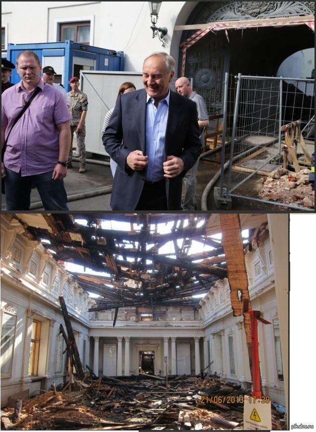 Президент Латвии на месте пожара у рижского замка. Видать неплохо бабла срубил чувак.
