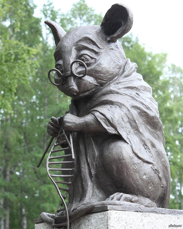 Памятник лабораторной мыши, вяжущей нить ДНК. новосибирский Академгородок