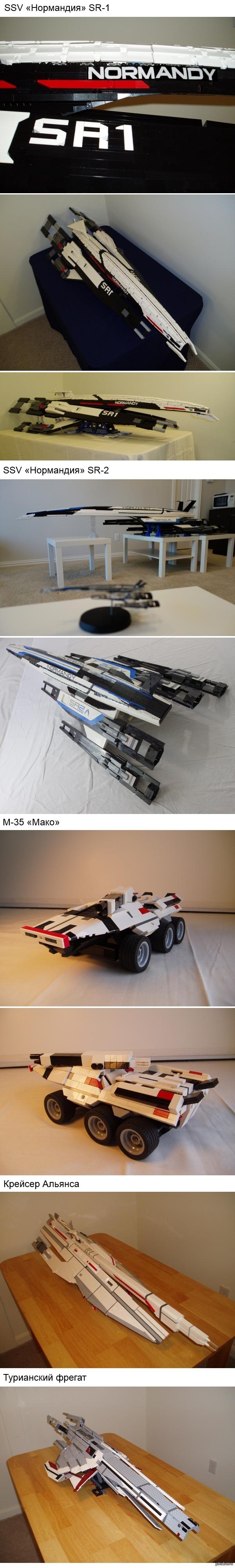 Мако и кораблики Mass Effect из LEGO (длиннопост) Полюбуемся на миниатюрные Мако да космические кораблики от Ktorrek'а. А в моё время у меня даже на одну такую модель деталей бы не хватило..