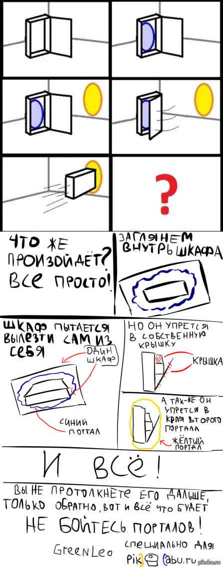 """Пояснение работы порталов, извиняюсь за кривой почерк) Ответ на пост: <a href=""""http://pikabu.ru/story/a_chto_esli_1466046"""">http://pikabu.ru/story/_1466046</a>"""