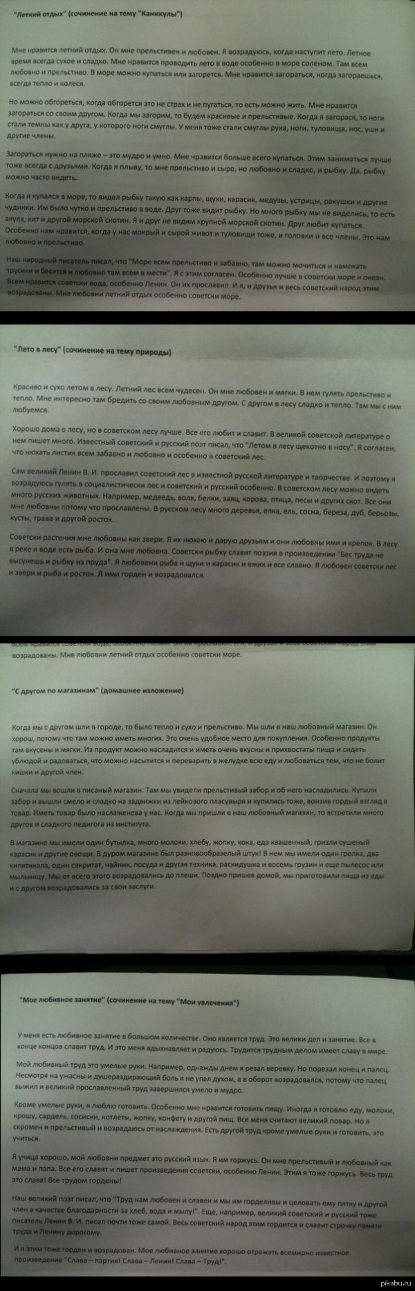 Сочинения китайских студентов Российского университета дружбы народов по русскому языку.
