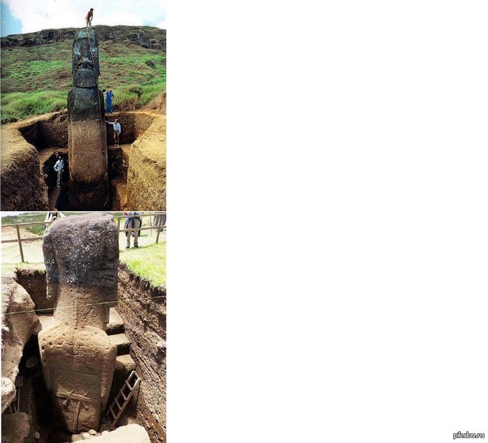Статуи Моаи на острове Пасхи Оказывается у них есть туловище 0_0.