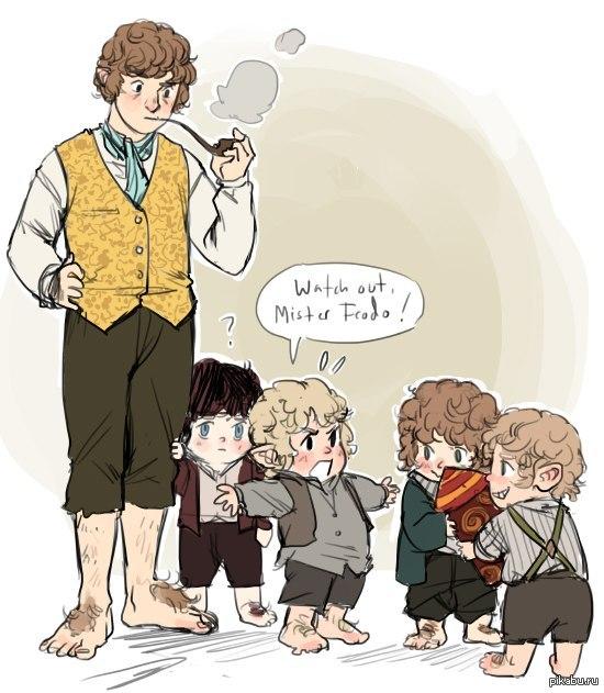 """Бильбо и... хоббитята? :) думаю, можно перевести как """"Будьте осторожны, мистер Фродо!"""""""