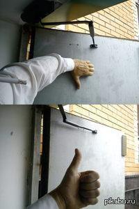 Оказывается можно так делать. Простой лайфхак для тех, кто ищет, чем подпереть дверь с доводчиком. Только сегодня узнал. Век живи, век учись - дураком помрёшь.