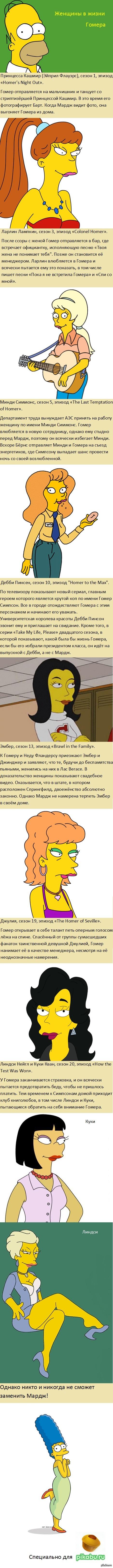 """Женщины в жизни Гомера Симпсона. Все те, с кем у Гомера были симпатии (взаимные и не очень).   Навеяно этим: <a href=""""http://pikabu.ru/story/bart_simpson_i_ego_devushki_1635675#comment_17314681"""">#comment_17314681</a>"""