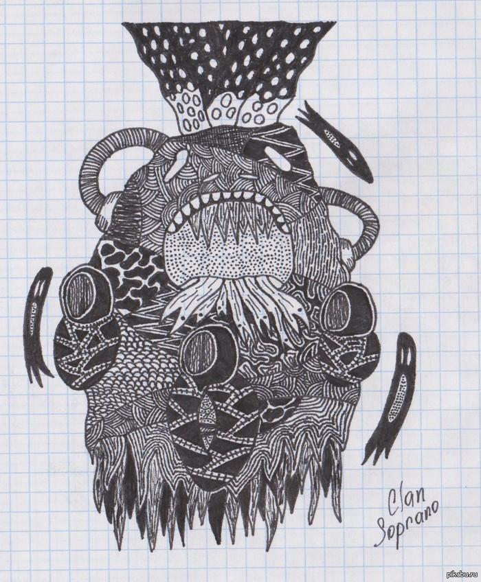 Первый опыт рисования doodle art Увлекаюсь рисованием не больше недели. Первый раз пробовал нарисовать что-то подобное, стоит продолжать?