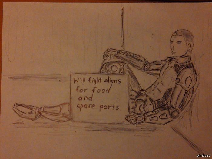 """Мысли о грядущем дополнении к XCOM В нем нам позволят улучшать солдат кибернетически. Я подумал о том, что с ними будет после войны.  Надпись: """"Борюсь с пришельцами за еду и запчасти"""""""