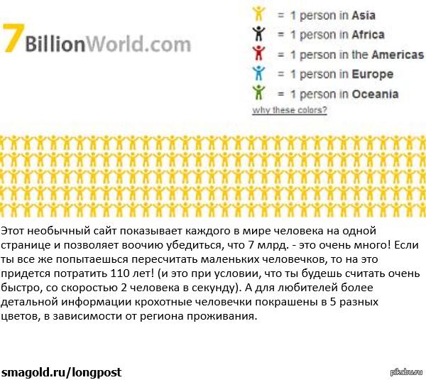 Семь миллиардов человек на одной странице. Ссылка в комментариях.