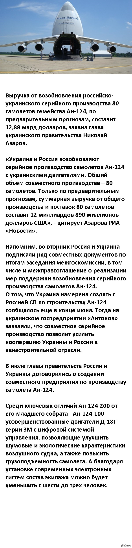 Россия и Украина построят 80 самолетов Ан-124