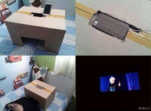 Как сделать из телефона и коробки кинотеатр