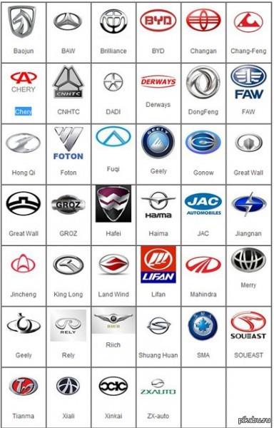 значки и названия автомобилей фото