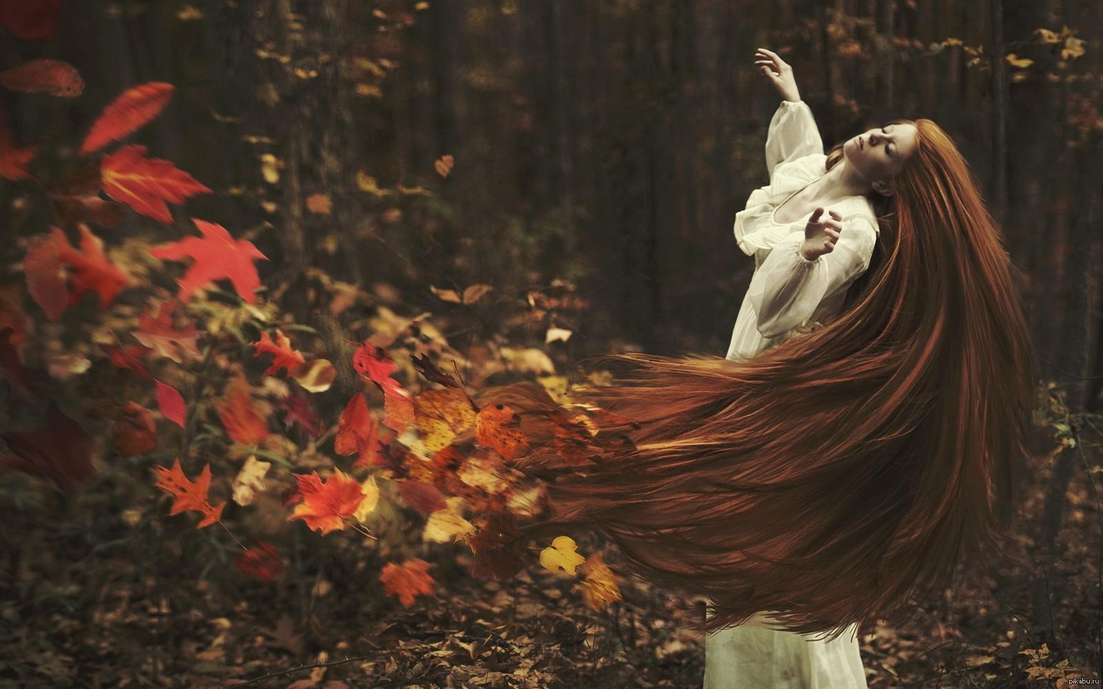 осень рыжая девушка картинки
