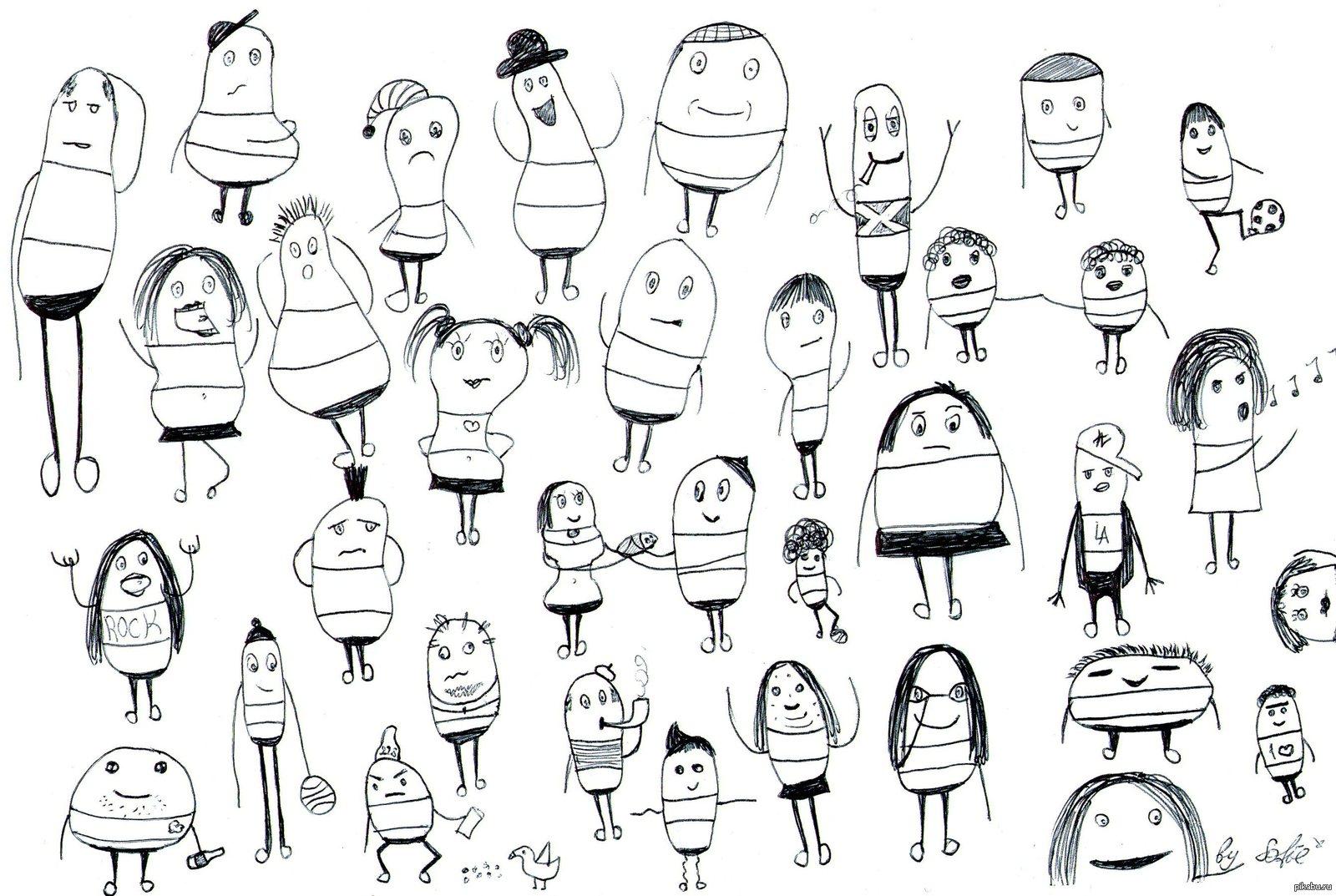 Картинки ван, прикольные рисунки черной ручкой история человечков