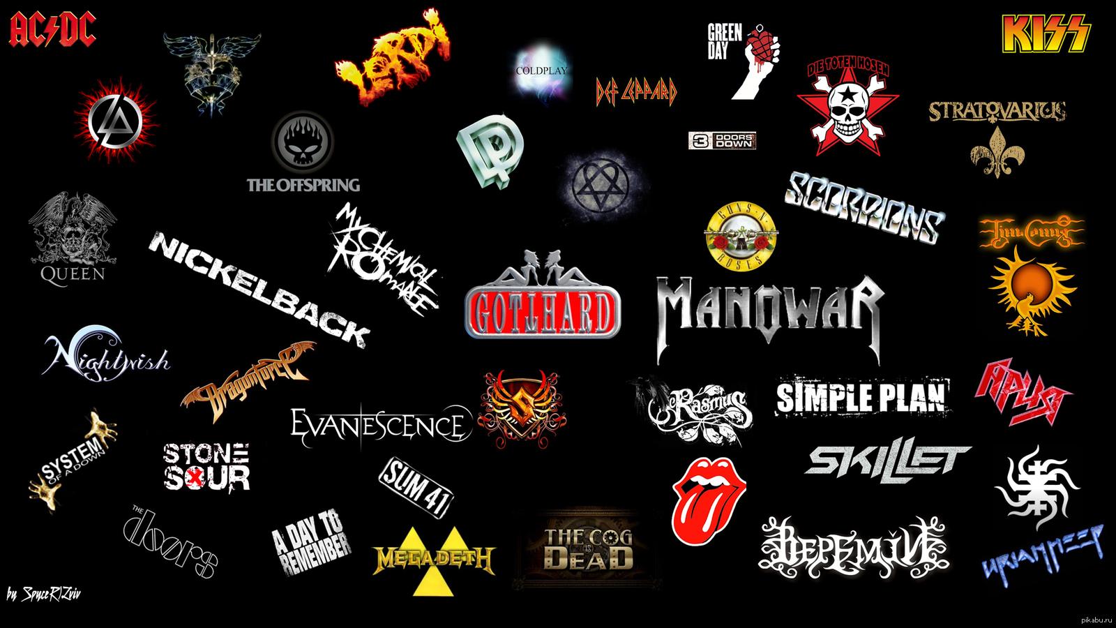 Логотипы рок групп в одной картинке