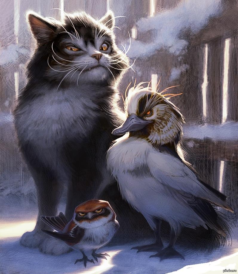 Кот и птичка картинки