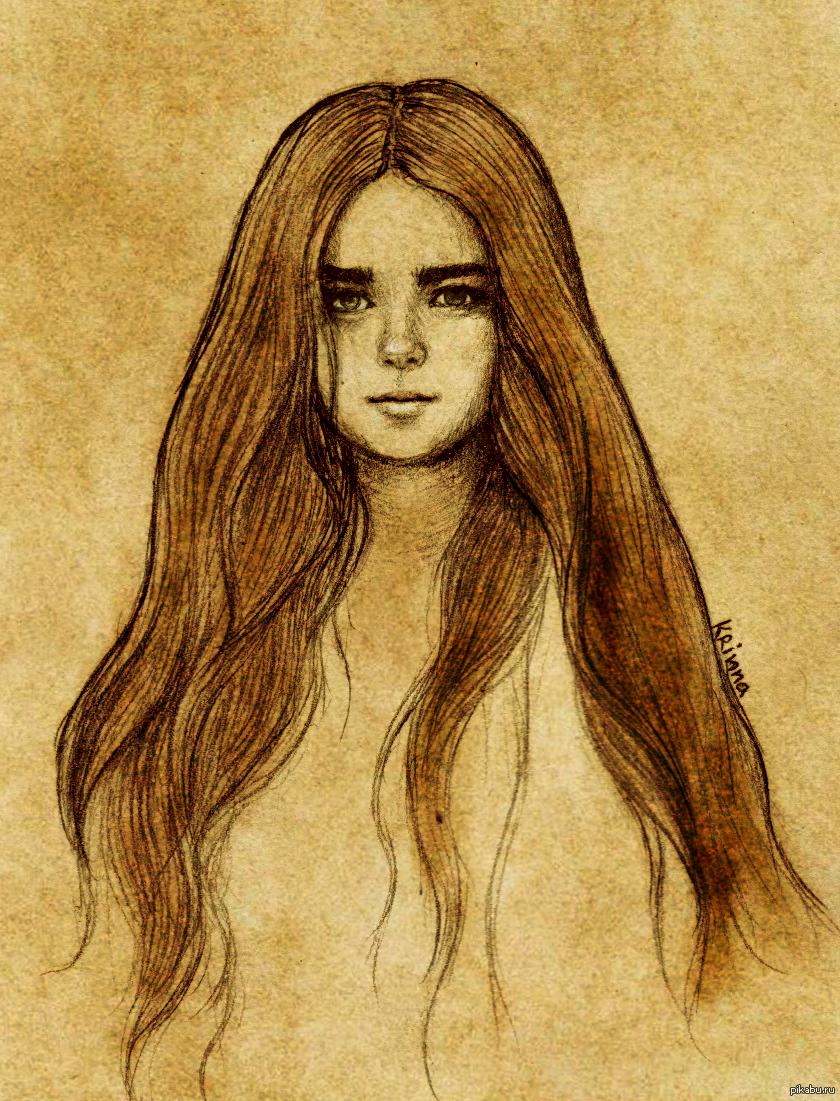 Картинки нарисованные карандашом девушек с длинными волосами