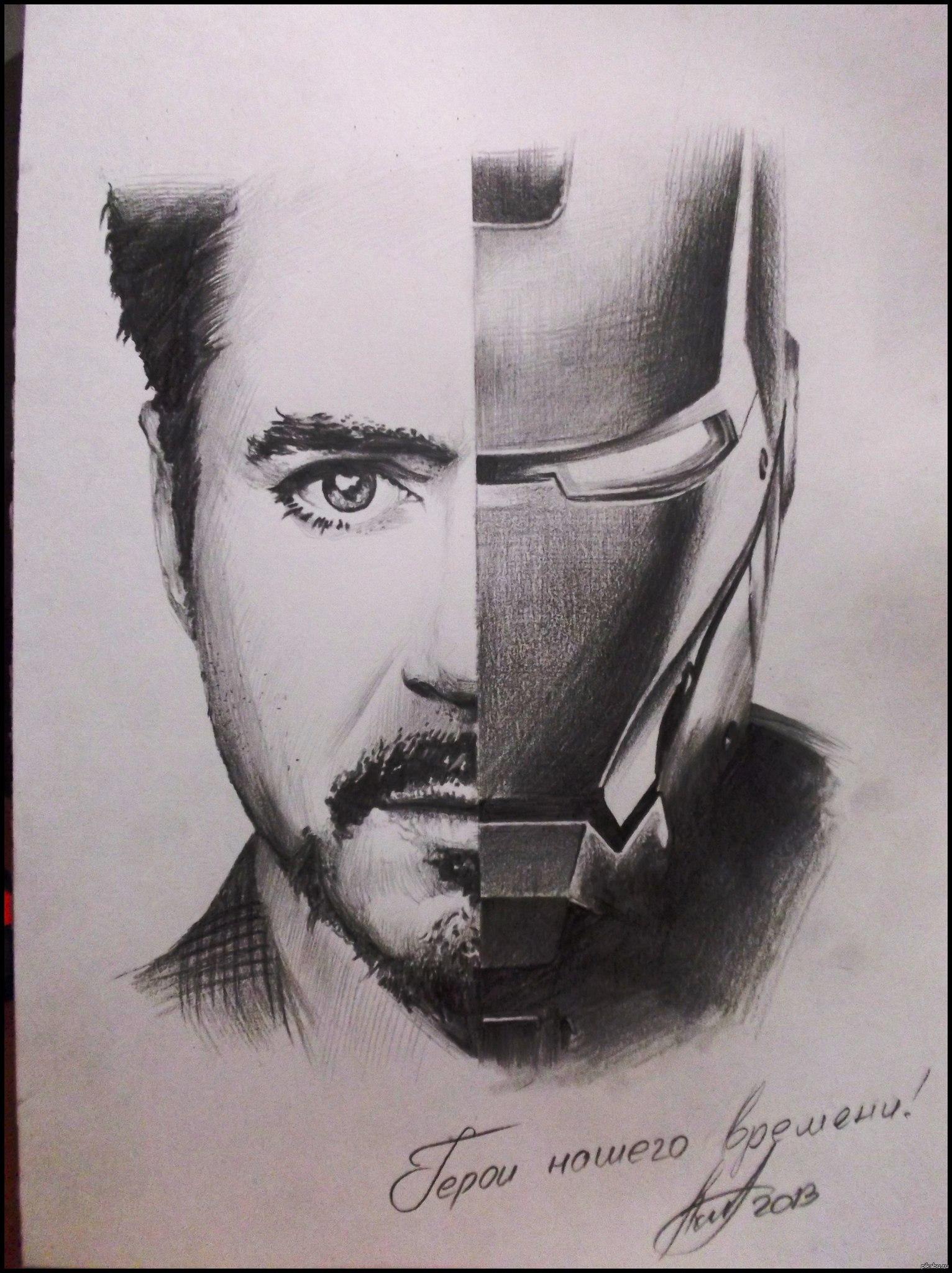 Железный человек постер карандашом