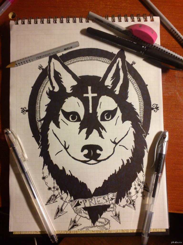 Рисунки в стиле тату на бумаге ручкой