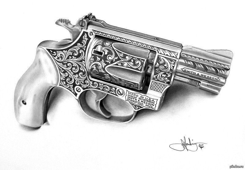 drawn pistol western gun pencil and in color drawn