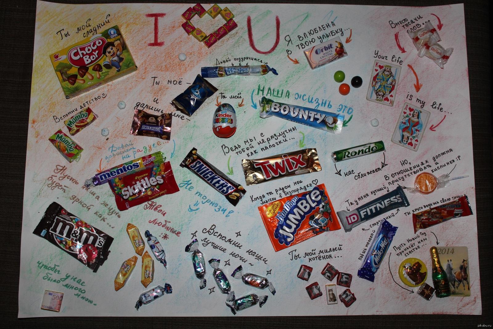 Поздравления с днем рождения на ватмане с шоколадками фото