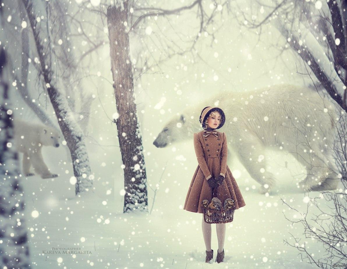 Девушки в лесу зимой фото 618-488