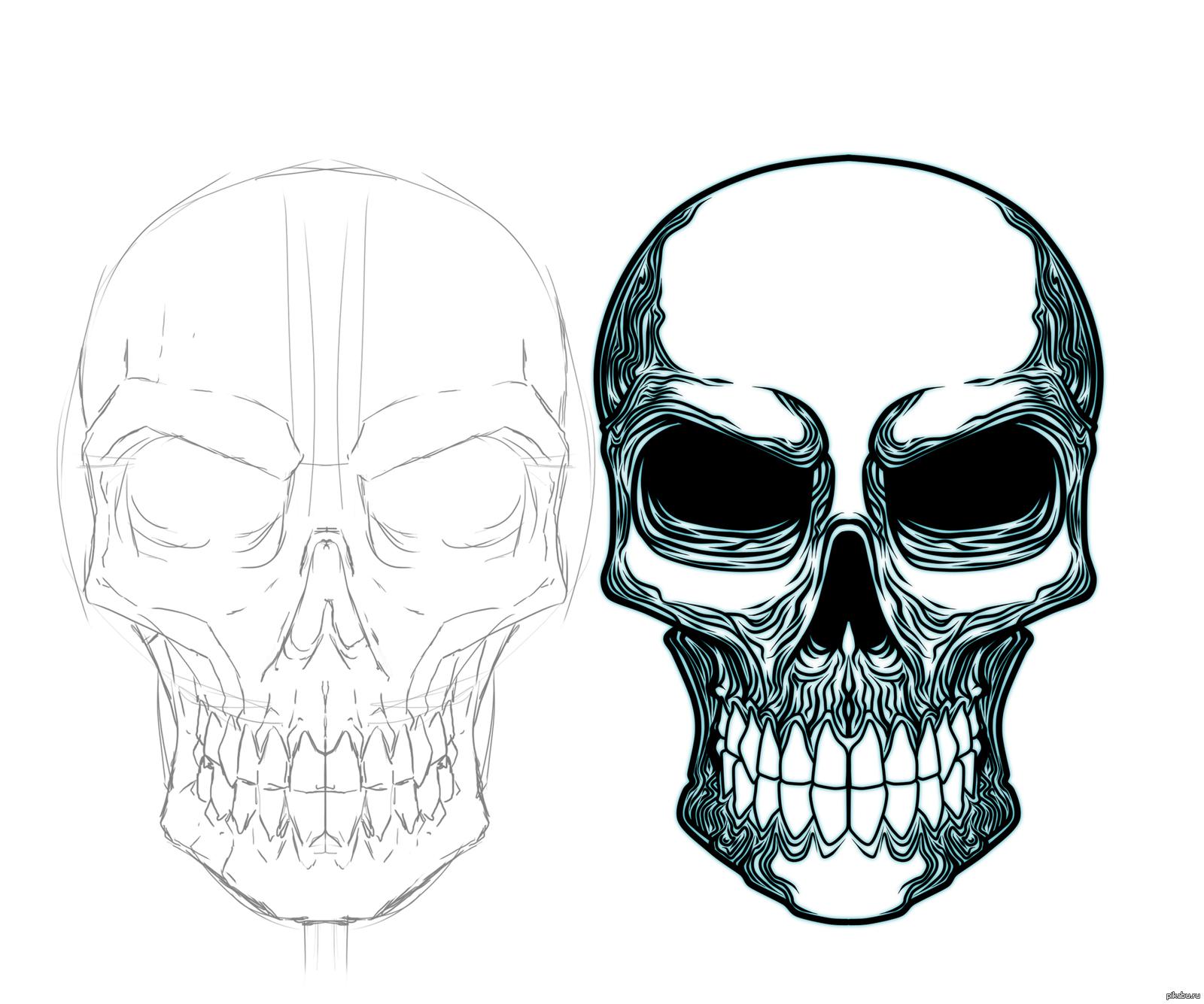 Картинка черепа нарисовать